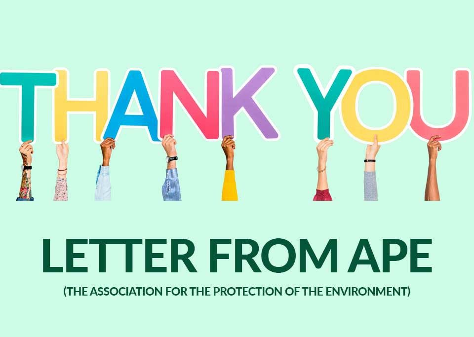 Thank you from APE