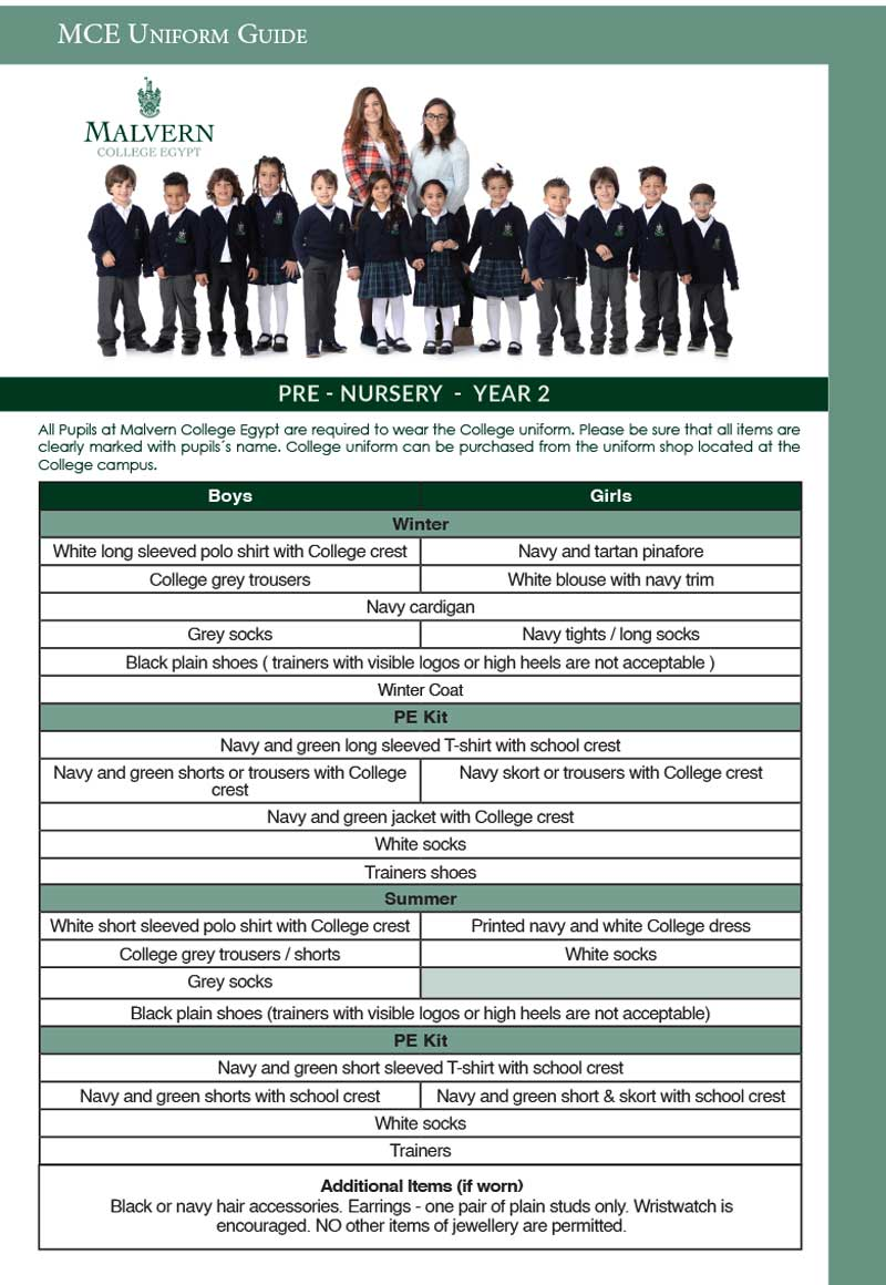 Pre-nursery to Year 2 Uniform Guide
